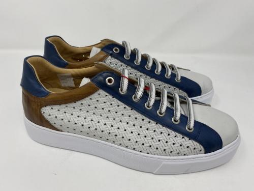 Exton Ledesneaker weiß blau Natur Gr. 41 - 46, 129.90, Größe 43 ausverkauft