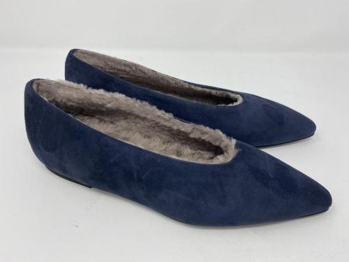Ballerina Veloursleder blau mit Lammfell gefüttert Gr. 35 - 42, 159.-