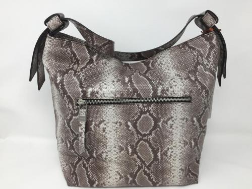 Umhängetasche aus Leder mit snakeprint beige, 169.- jetzt 135.-