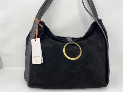 Größere Lederhandtasche in Veloursleder schwarz 199.-