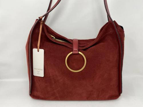 Größere Lederhandtasche in Veloursleder rubino 199.- jetzt 99.50