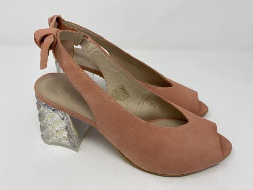 Sandalette mit transparentem Blockabsatz in rosé Veloursleder Gr. 36, 119.90 jetzt 95.-
