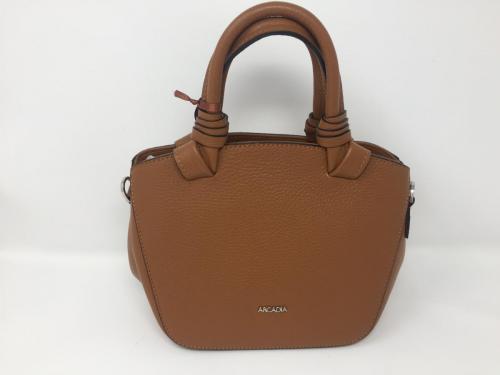 Kleinere  Lederhandtasche mit zwei Kurzgriffen cognac, 129.-