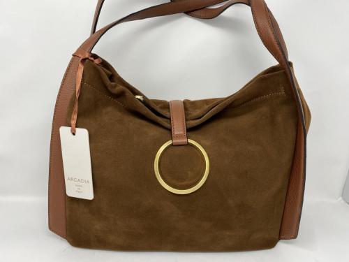 Größere Lederhandtasche in Veloursleder marrone 199.-